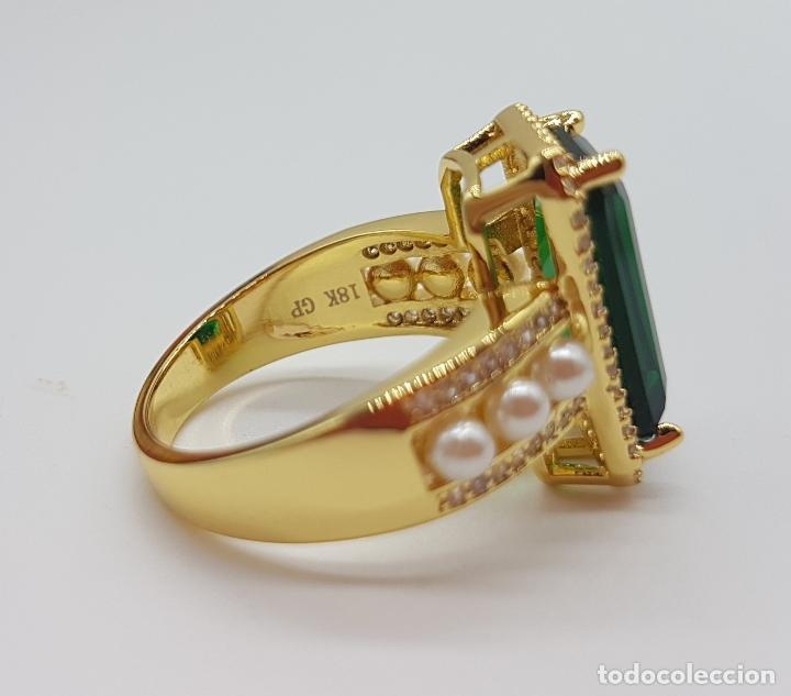 Joyeria: Elegante anillo tipo art decó chapado en oro de 18k contraste, circonitas, perlas y esmeralda creada - Foto 8 - 159792666