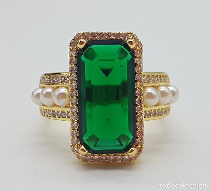 Joyeria: Elegante anillo tipo art decó chapado en oro de 18k contraste, circonitas, perlas y esmeralda creada - Foto 9 - 159792666