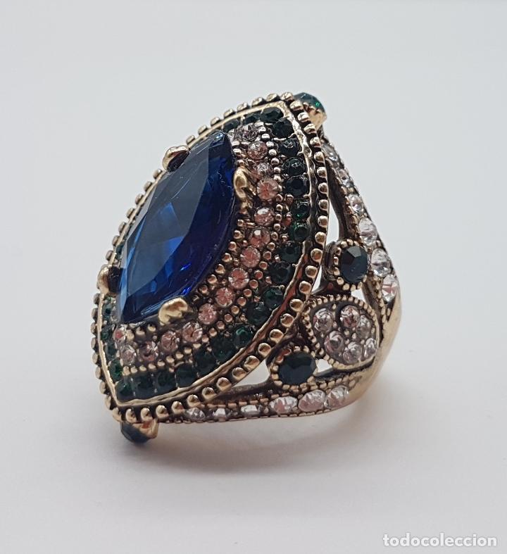 Joyeria: Espectacular anillo tipo imperio turco con acabado en oro viejo, pedrería y símil de zafiro . - Foto 6 - 159795906