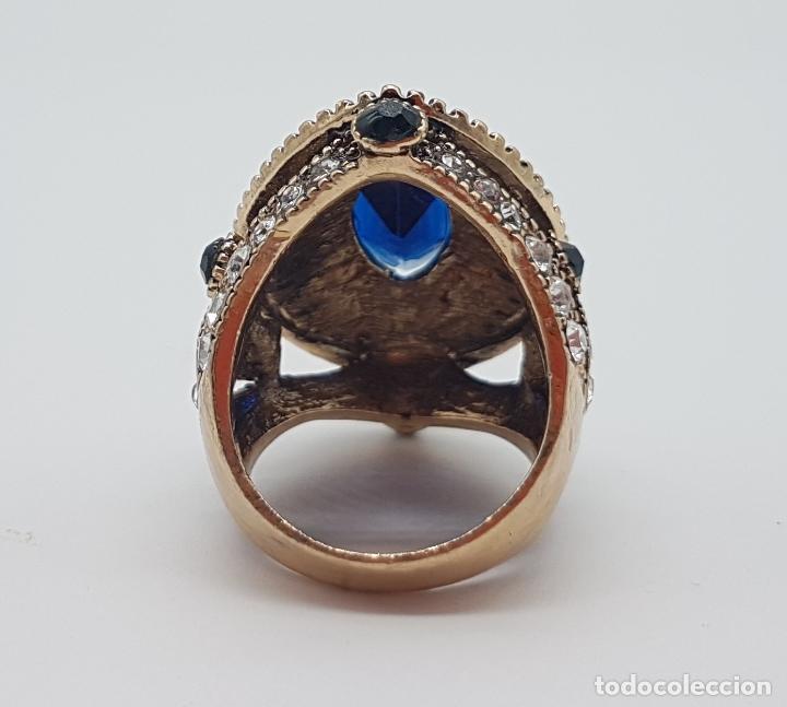 Joyeria: Espectacular anillo tipo imperio turco con acabado en oro viejo, pedrería y símil de zafiro . - Foto 7 - 159795906