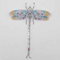 Jewelry - Espectacular broche tipo modernista articulado con acabado en oro blanco 18k, esmaltes y pedrería . - 159797014