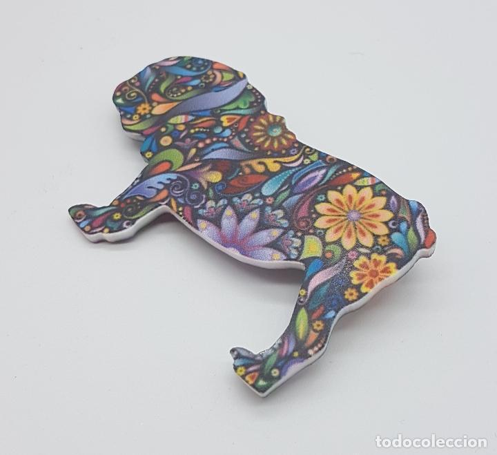 Joyeria: Bonito broche de bulldog inglés con estampado modernista en acrílico . - Foto 2 - 159797578