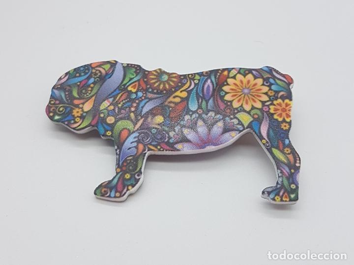Joyeria: Bonito broche de bulldog inglés con estampado modernista en acrílico . - Foto 3 - 159797578
