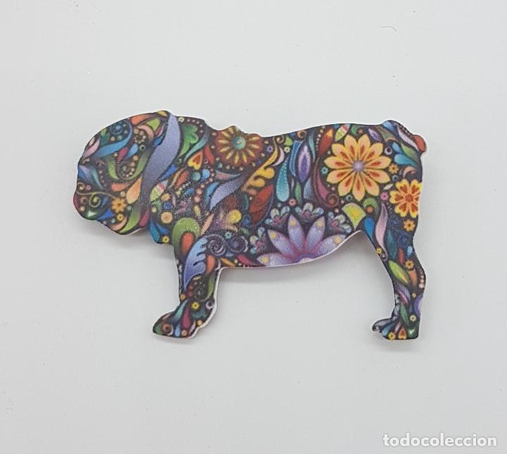 Joyeria: Bonito broche de bulldog inglés con estampado modernista en acrílico . - Foto 5 - 159797578
