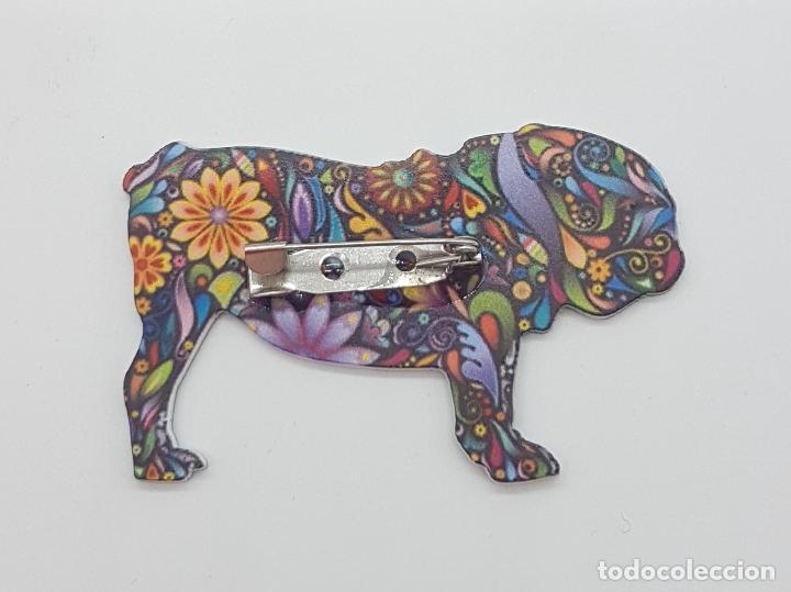 Joyeria: Bonito broche de bulldog inglés con estampado modernista en acrílico . - Foto 6 - 159797578