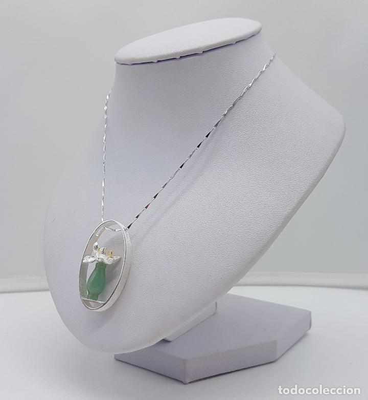 Joyeria: Magnifica gargantilla en plata de ley 925, oro y jade, de diseño zen minimalista hecho a mano . - Foto 2 - 159848542