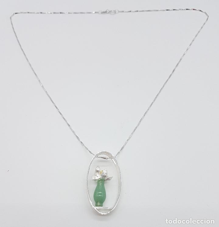 Joyeria: Magnifica gargantilla en plata de ley 925, oro y jade, de diseño zen minimalista hecho a mano . - Foto 4 - 159848542