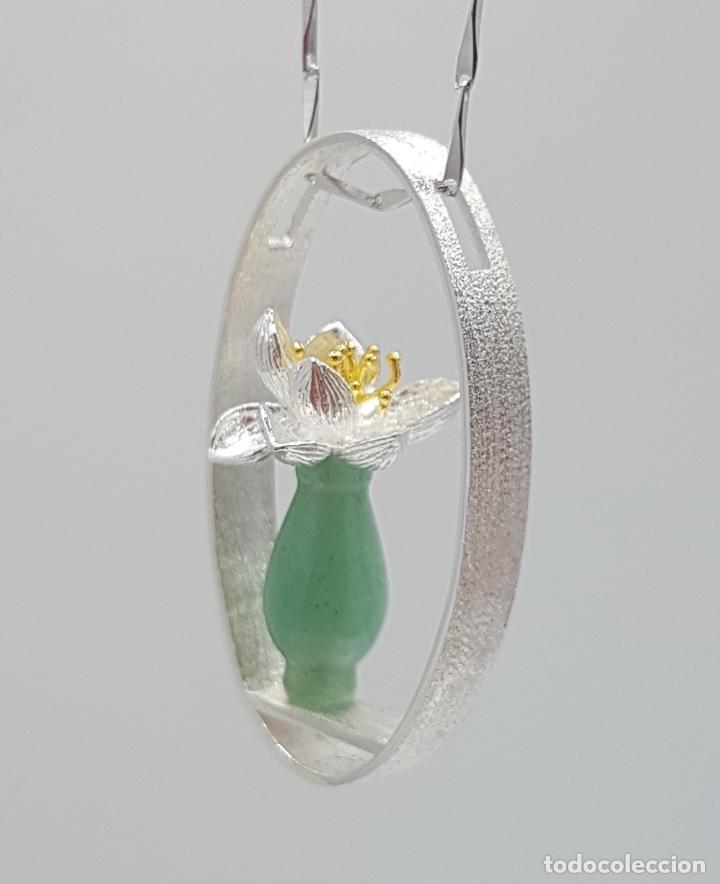 Joyeria: Magnifica gargantilla en plata de ley 925, oro y jade, de diseño zen minimalista hecho a mano . - Foto 5 - 159848542