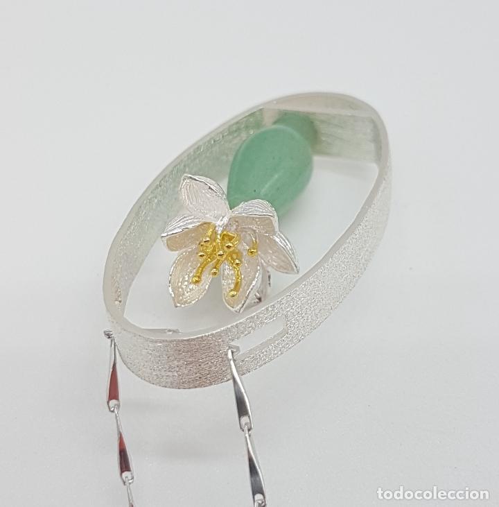 Joyeria: Magnifica gargantilla en plata de ley 925, oro y jade, de diseño zen minimalista hecho a mano . - Foto 8 - 159848542