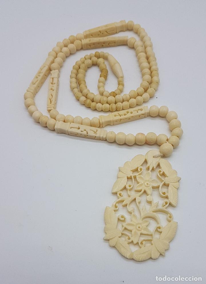 Joyeria: Collar antiguo oriental hecho a mano en marfil o hueso tallado a mano con bellos motivos florales . - Foto 5 - 159849230