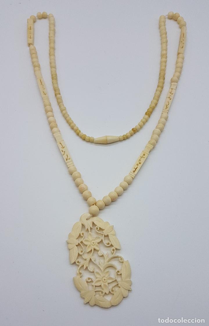 Joyeria: Collar antiguo oriental hecho a mano en marfil o hueso tallado a mano con bellos motivos florales . - Foto 6 - 159849230