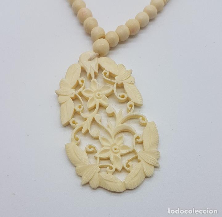 Joyeria: Collar antiguo oriental hecho a mano en marfil o hueso tallado a mano con bellos motivos florales . - Foto 7 - 159849230