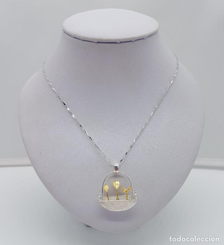 Joyeria: Gargantilla minimalista en plata de ley 925 y oro de 18k simulando una maceta de diseño y plantas . - Foto 3 - 159853162