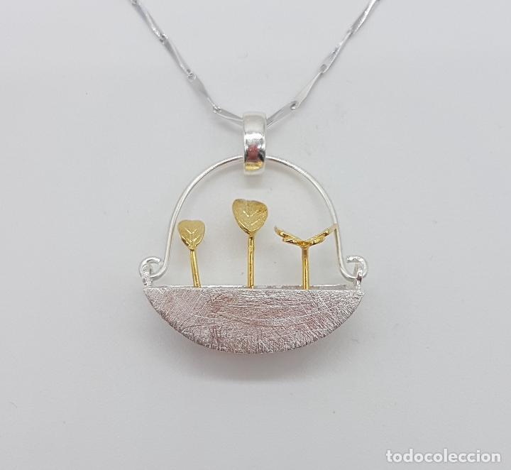 Joyeria: Gargantilla minimalista en plata de ley 925 y oro de 18k simulando una maceta de diseño y plantas . - Foto 6 - 159853162