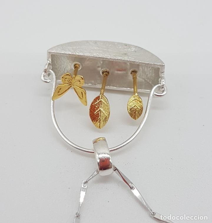 Joyeria: Gargantilla minimalista en plata de ley 925 y oro de 18k simulando una maceta de diseño y plantas . - Foto 7 - 159853162