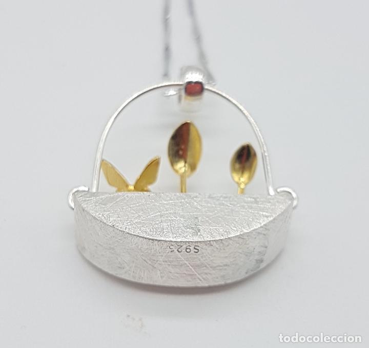 Joyeria: Gargantilla minimalista en plata de ley 925 y oro de 18k simulando una maceta de diseño y plantas . - Foto 8 - 159853162