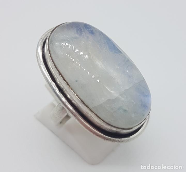 Joyeria: Gran anillo vintage en plata de ley maciza con contraste y gran cabujón de piedra luna natural . - Foto 4 - 160246506
