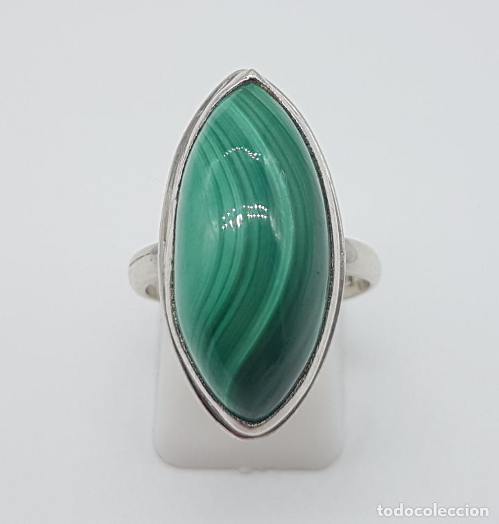 Joyeria: Gran anillo antiguo en plata de ley contrastada y cabujón de piedra malaquita autentica . - Foto 2 - 160285878