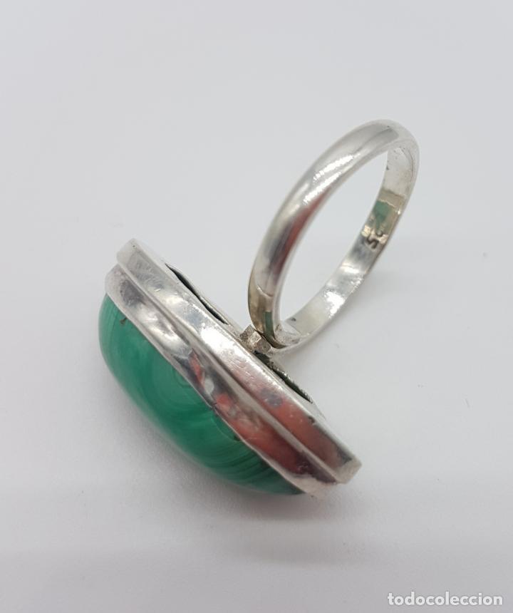 Joyeria: Gran anillo antiguo en plata de ley contrastada y cabujón de piedra malaquita autentica . - Foto 5 - 160285878