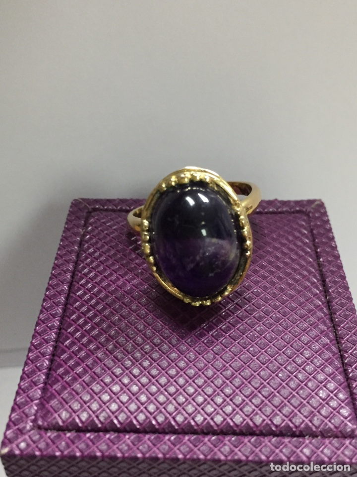 Joyeria: Sortija chapada de oro y amatista - Foto 3 - 160332692