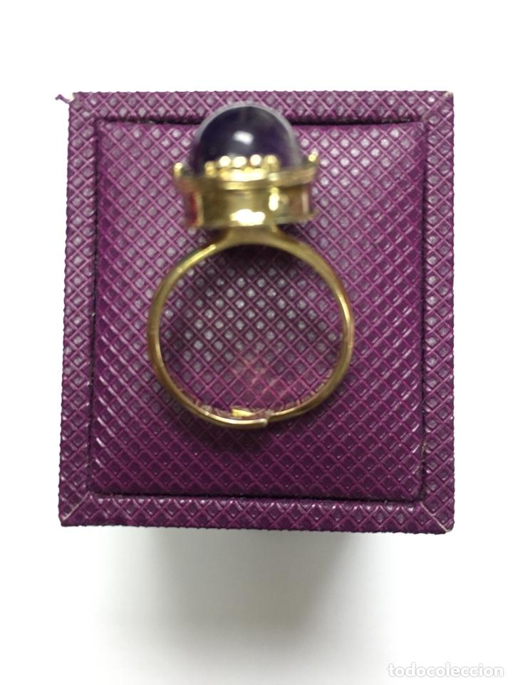 Joyeria: Sortija chapada de oro y amatista - Foto 5 - 160332692
