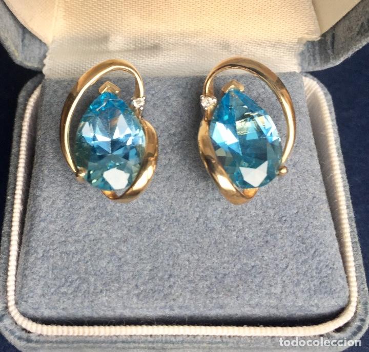 Joyeria: Pendientes Oro Topacio Azul y Brillante ROSS JEWELERS - Foto 2 - 160557614