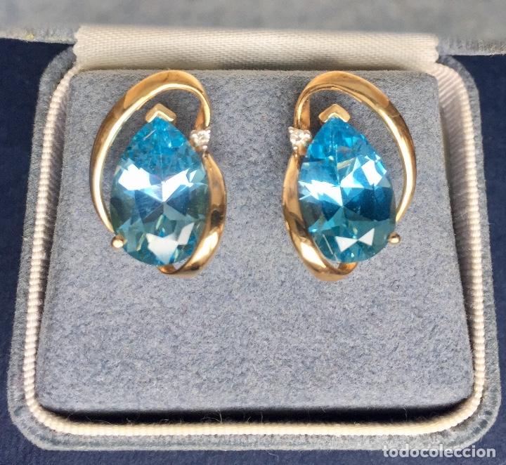 Joyeria: Pendientes Oro Topacio Azul y Brillante ROSS JEWELERS - Foto 3 - 160557614