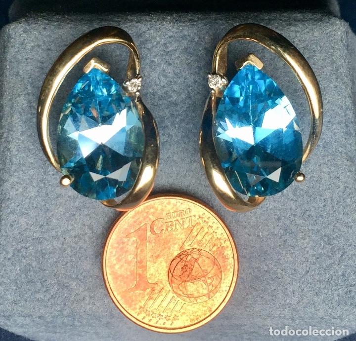 Joyeria: Pendientes Oro Topacio Azul y Brillante ROSS JEWELERS - Foto 4 - 160557614
