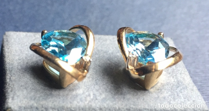 Joyeria: Pendientes Oro Topacio Azul y Brillante ROSS JEWELERS - Foto 6 - 160557614