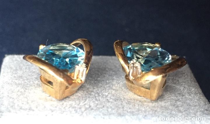 Joyeria: Pendientes Oro Topacio Azul y Brillante ROSS JEWELERS - Foto 5 - 160557614
