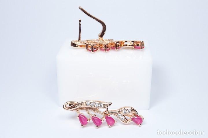 Joyeria: Pendientes en oro rosa de 14k, largos con rubies colgando - Foto 4 - 161426666