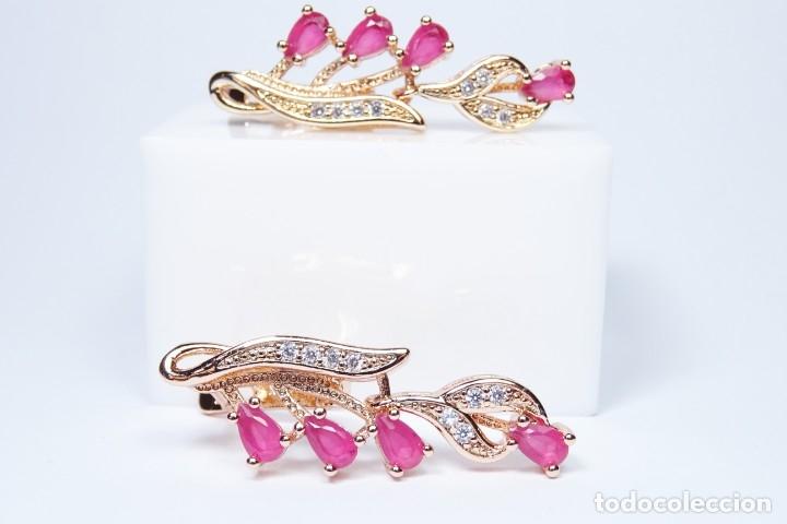 Joyeria: Pendientes en oro rosa de 14k, largos con rubies colgando - Foto 3 - 161426666