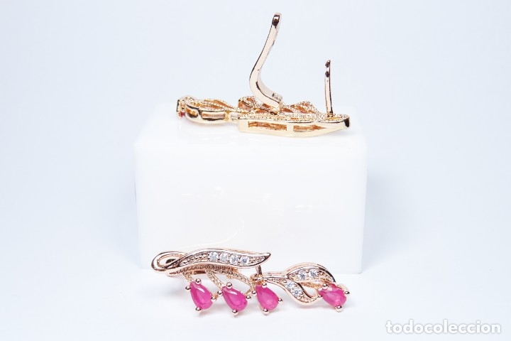 Joyeria: Pendientes en oro rosa de 14k, largos con rubies colgando - Foto 6 - 161426666