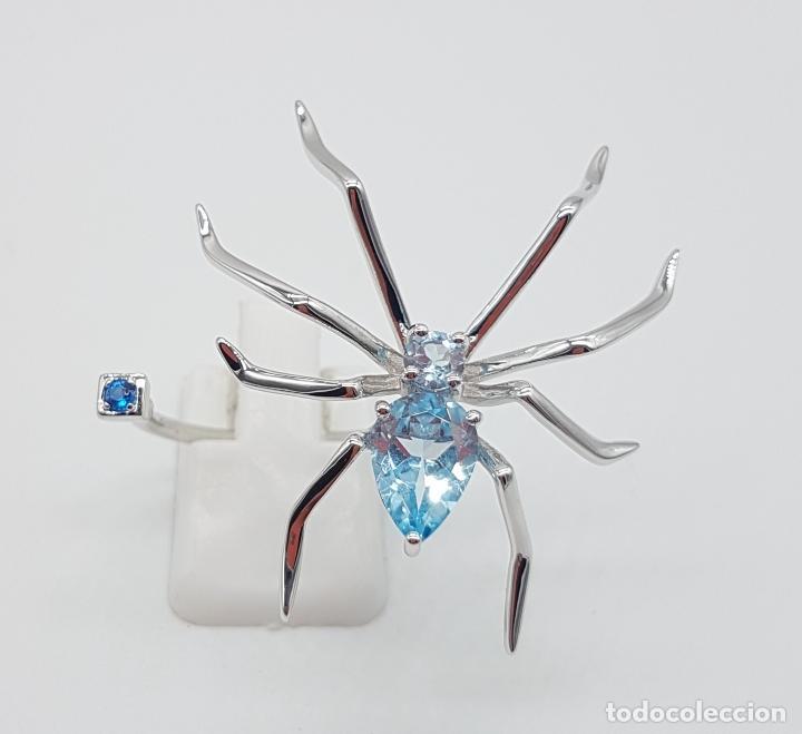 Joyeria: Espectacular anillo de diseño exclusivo con forma de araña en plata de ley y aguamarinas . - Foto 2 - 162110474