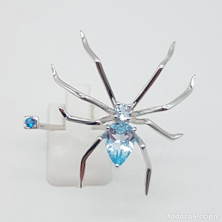 Joyeria: Espectacular anillo de diseño exclusivo con forma de araña en plata de ley y aguamarinas . - Foto 5 - 162110474