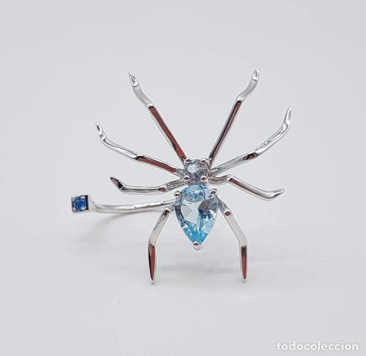 Joyeria: Espectacular anillo de diseño exclusivo con forma de araña en plata de ley y aguamarinas . - Foto 6 - 162110474
