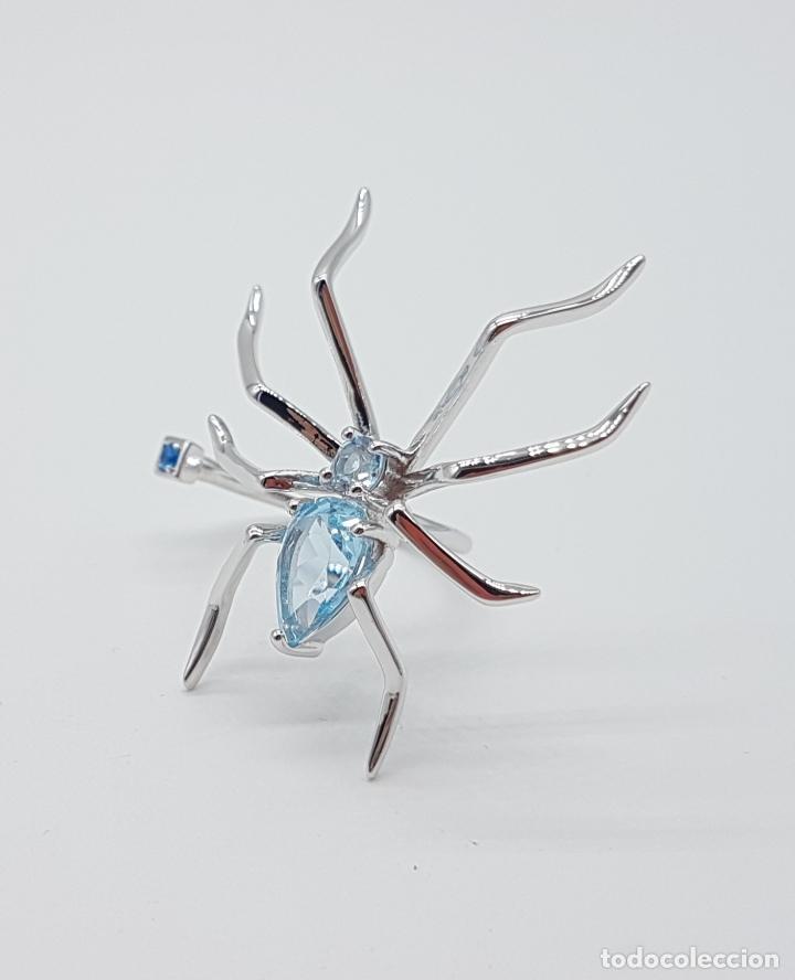 Joyeria: Espectacular anillo de diseño exclusivo con forma de araña en plata de ley y aguamarinas . - Foto 7 - 162110474