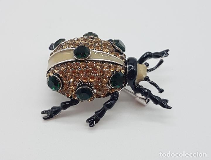 Joyeria: Broche de estilo art decó en forma de insecto realista, acabado en esmaltes al fuego y pedrería . - Foto 2 - 172584512