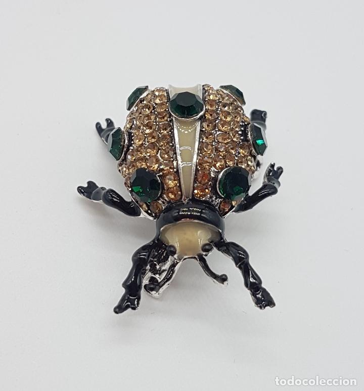 Joyeria: Broche de estilo art decó en forma de insecto realista, acabado en esmaltes al fuego y pedrería . - Foto 3 - 172584512
