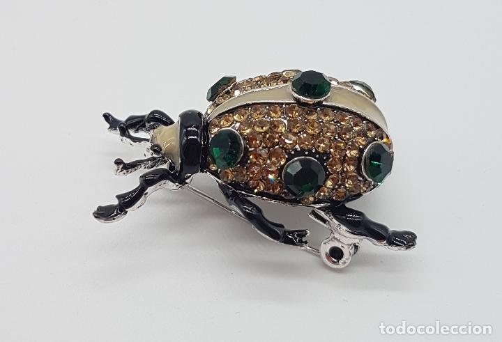Joyeria: Broche de estilo art decó en forma de insecto realista, acabado en esmaltes al fuego y pedrería . - Foto 4 - 172584512