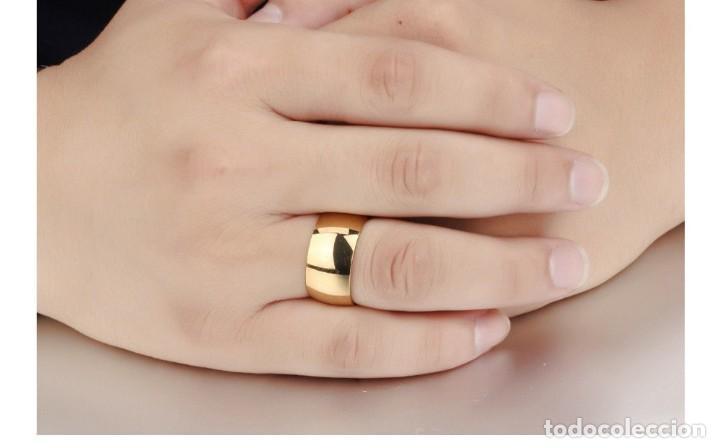 7b3849926e4a 11.5mm de Ancho anillo para Hombre o mujer . Acero inoxidable baño de oro.