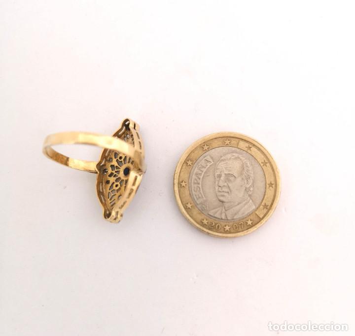 Joyeria: Anillo Antiguo Lanzadera Oro Diamantes y Zafiro - Foto 2 - 162616978