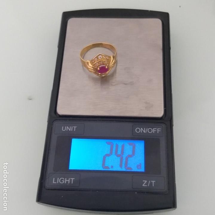 Joyeria: Anillo de Oro de 18 quilates Espinela roja y topacios blanco - Foto 6 - 163342074