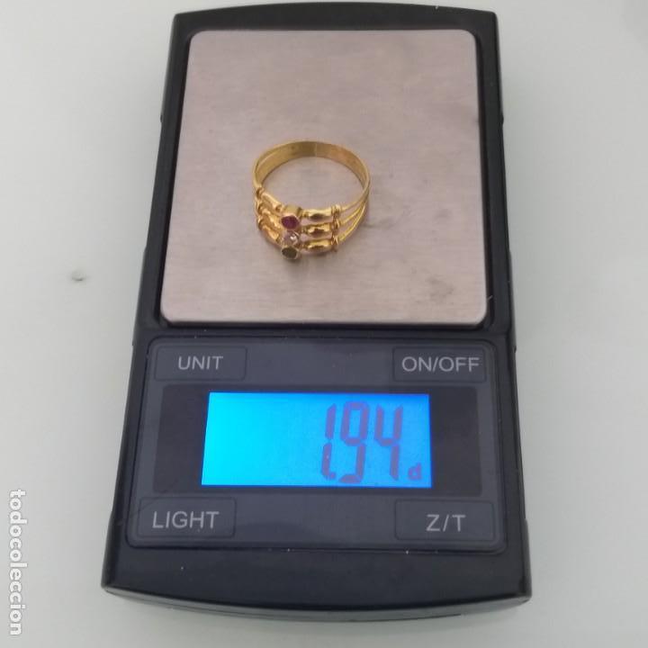 Joyeria: Anillo de Oro de 18 Quilate Esmeralda Rubí y topacio blanco - Foto 6 - 163343618