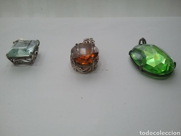 Joyeria: Lote de 3 colgantes antiguos en plata con cristales. - Foto 2 - 163552697