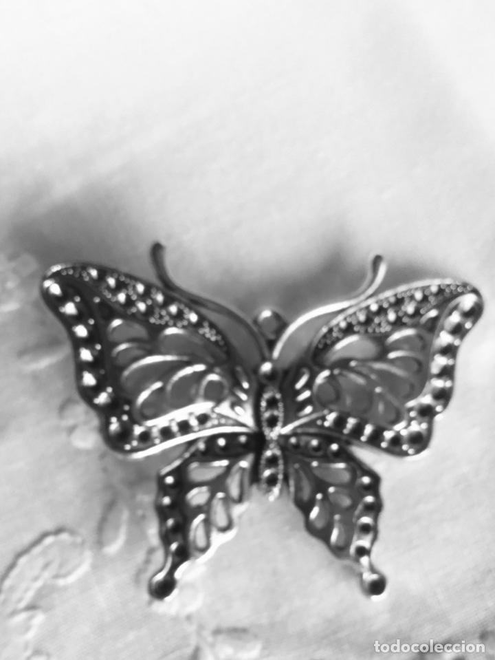 Joyeria: Broche antiguo plateadoen forma de mariposa - Foto 4 - 163964282