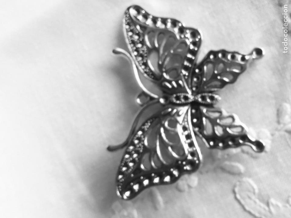 Joyeria: Broche antiguo plateadoen forma de mariposa - Foto 5 - 163964282