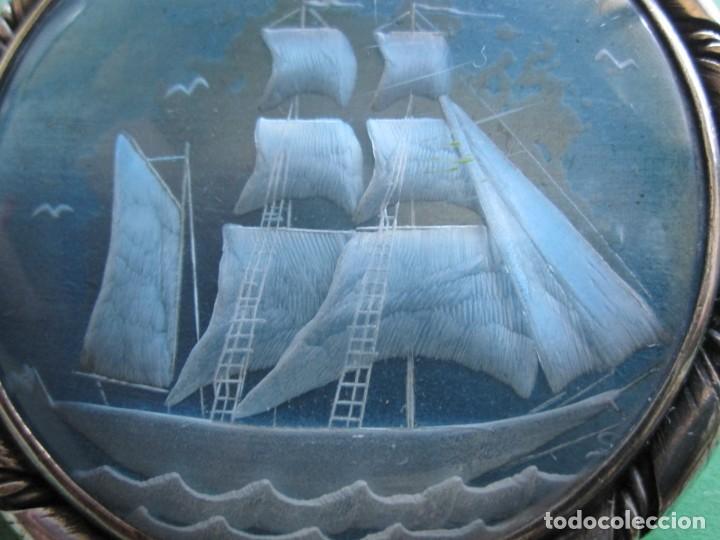 Joyeria: ANTIGUO BROCHE CON MARCO DE PLATA RESTO CRISTAL - Foto 2 - 164150958
