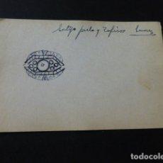 Joyeria: JOYERIA JOSE A. AGRUÑA CALLE ZARAGOZA MADRID DIBUJO ORIGINAL DISEÑO JOYA 8 X 12 CMTS AÑOS 40 . Lote 164607342