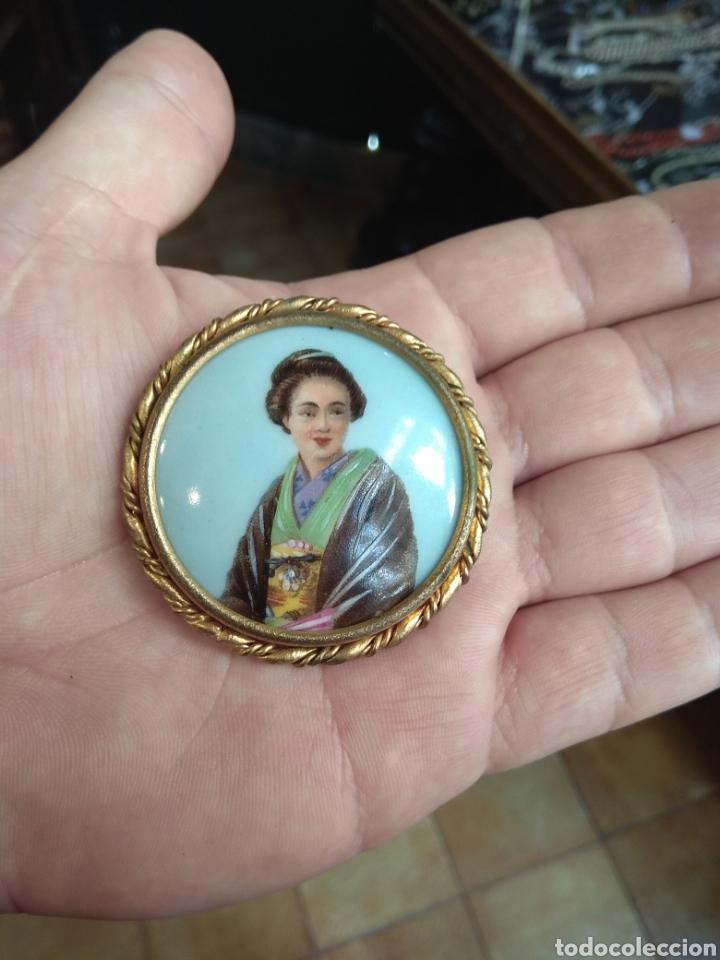 Joyeria: Antiguo Broche Porcelana Limoges Pintado a Mano - Geisha - - Foto 2 - 164706569